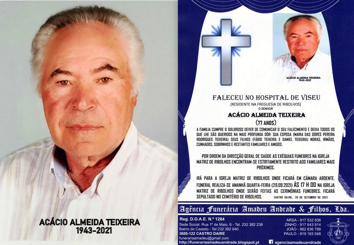 FOTO RIP DE ACÁCIO ALMEIDA TEIXEIRA -77 ANOS (RIB