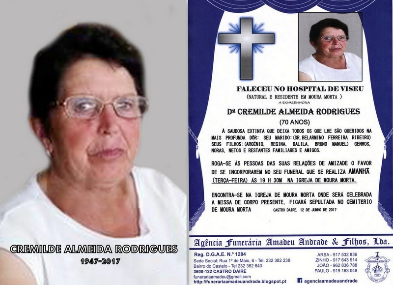 FOTO E RIP  DE CREMILDE ALMEIDA RODRIGUES-70 ANOS