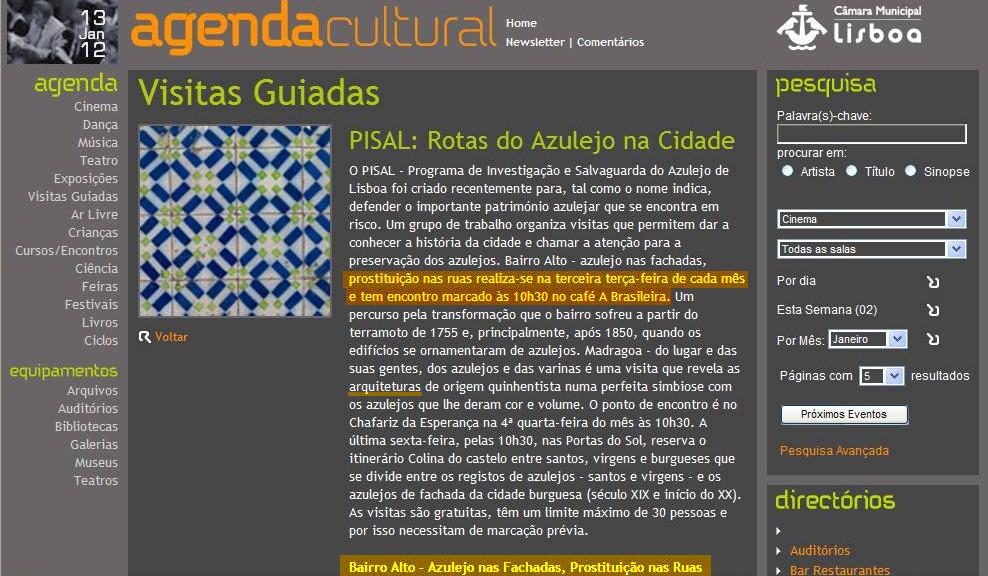 Prostituição nas ruas... (Agenda Cultural da C.M.L., 13/1/2012)