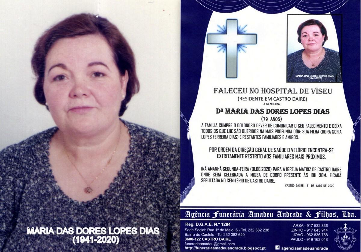FOTO RIP DE MARIA DAS DORES LOPES DIAS -79 ANOS(CA