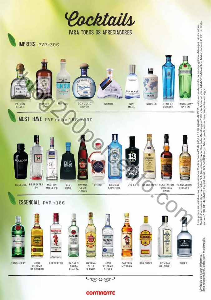 Antevisão Folheto CONTINENTE Cocktails & Gins pro