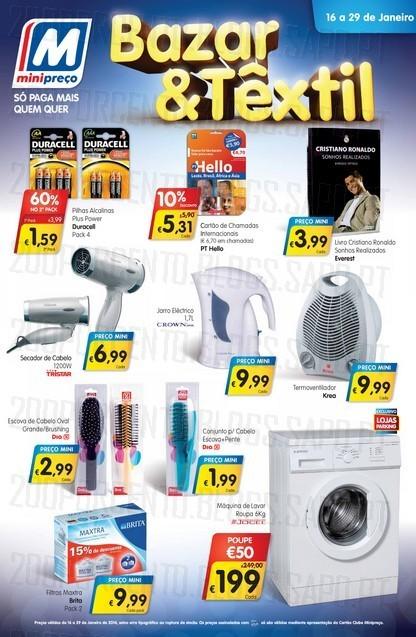 Novo folheto   MINI PREÇO   Bazar & Têxtil de 16 a 29 janeiro