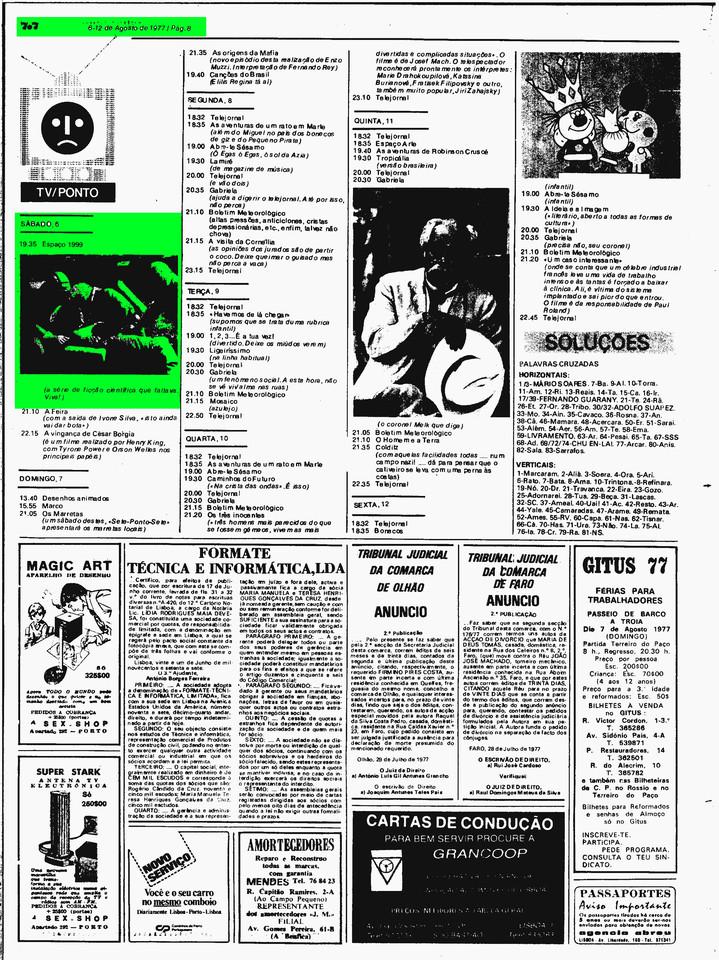 Diário de Lisboa, suplemento 7x7, 6/8/1977