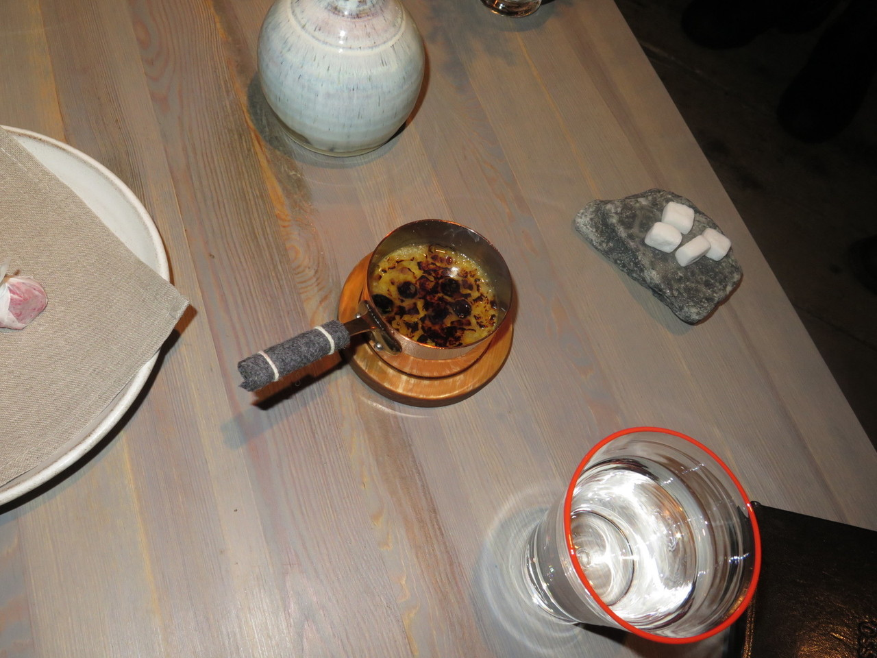 Bone marrow pudding, frozen milk
