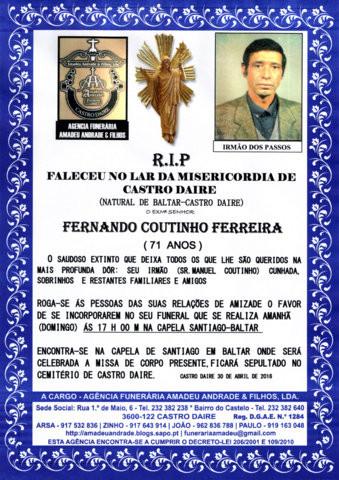 RIP- DE FERNANDO COUTINHO FERREIRA-71 ANOS (BALTAR