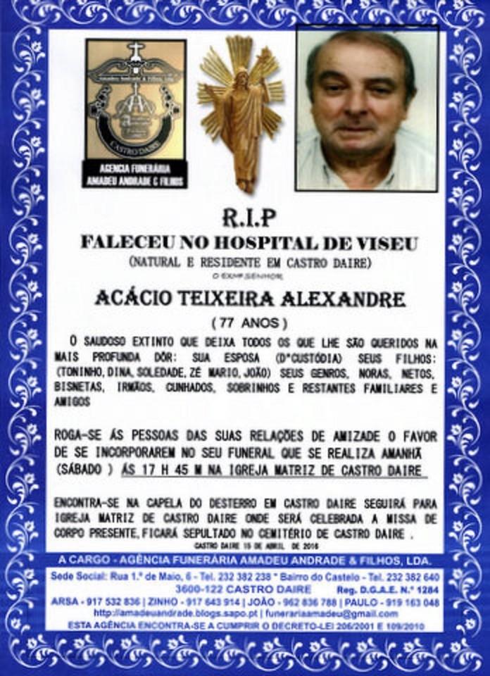 RIP2 -ACÁCIO TEIXEIRA ALEXANDRE -77 ANOS (CASTRO