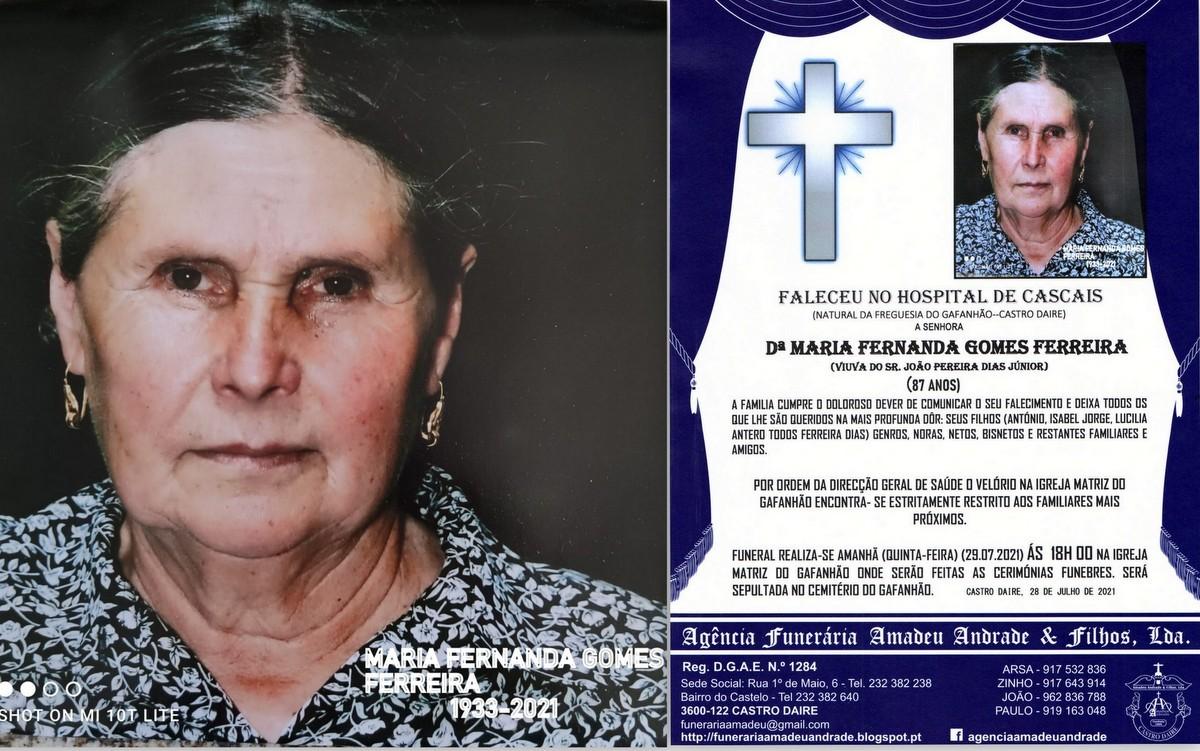 FOTO RIP HORA  DE DªMARIA FERNANDA GOMES FERREIRA