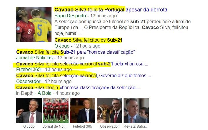 Noticiário desportivo (Google, 1/1/15)