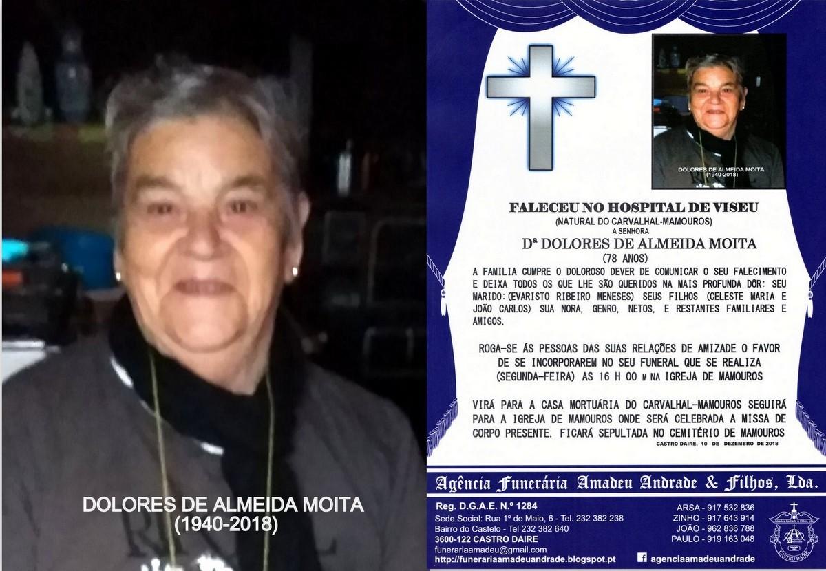 FOTO RIP DE DOLORES DE ALMEIDA MOITA -78 ANOS (CAR