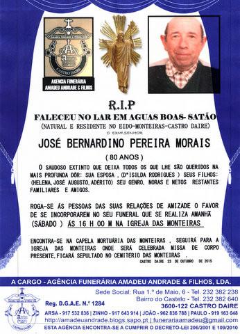 RIP- DE JOSÉ BERNARDINO PEREIRA MORAIS-80 ANOS (M