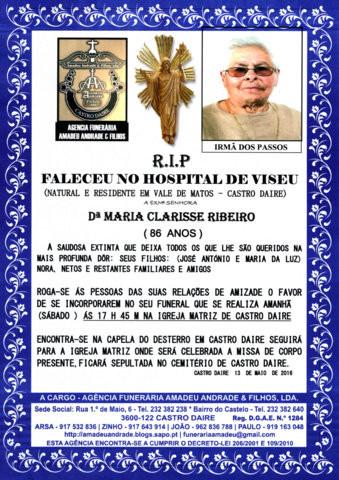 RIP4- DE MARIA CLARISSE RIBEIRO -86 ANOS ( VALE DE