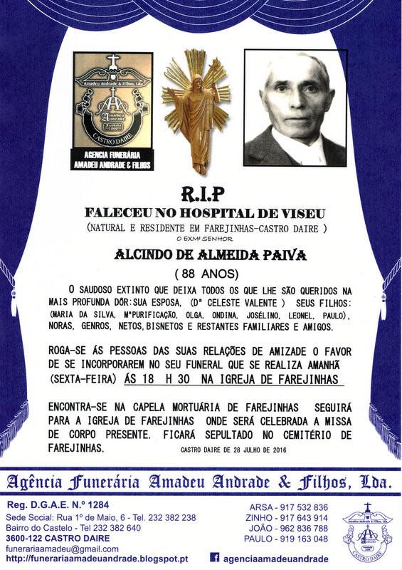 RIP2- ALCINDO DE ALMEIDA PAIVA-88 ANOS (FAREJINHAS