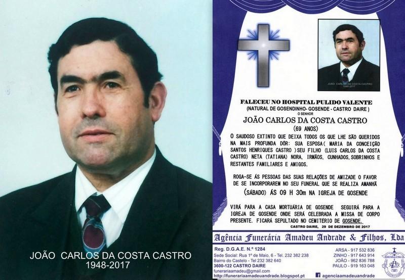 FOTO RIP DE JOÃO CARLOS DA COSTA CASTRO-69 ANOS (