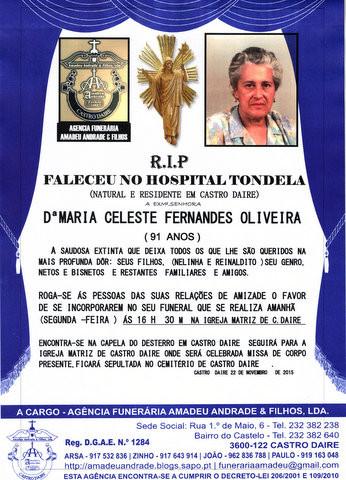 RIP3- DE MARIA CELESTE FERNANDES OLIVEIRA-91 ANOS