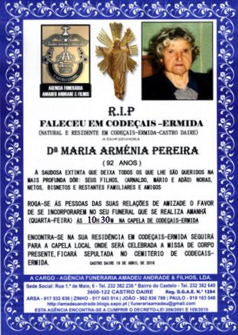 RIP- DE MARIA ARMÉNIA PEREIRA-92 ANOS (CODECAIS).