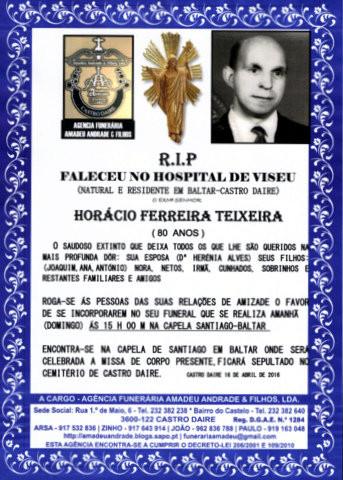 RIP- DE HORÁCIO FERREIRA TEIXEIRA-80 ANOS (BALTAR