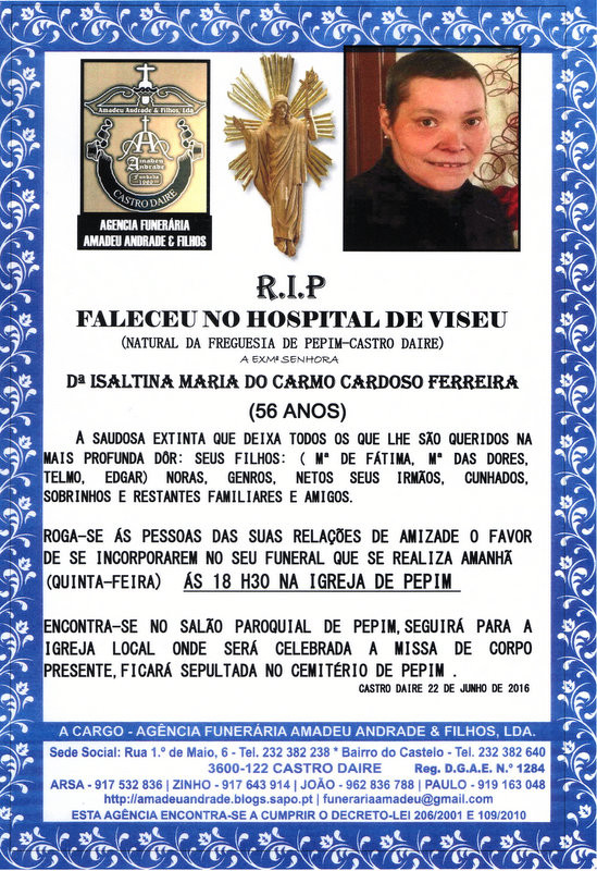 RIP-ISALTINA MARIA DO CARMO CARDOSO FERREIRA-56 AN