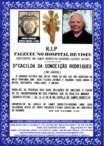 RIP- DE CACILDA DA CONCEIÇÃO RODRIGUES-86 ANOS (