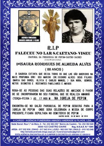 RIP2-DE ISAURA RODRIGUES DE ALMEIDA ALVES-88 ANOS.