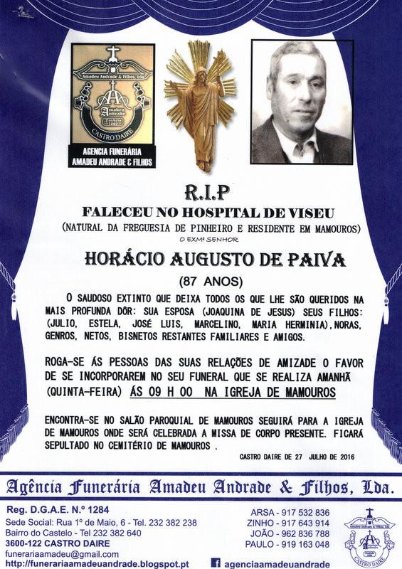 RIP- DE HORÁCIO AUGUSTO DE PAIVA-87 ANOS (MAMOURO