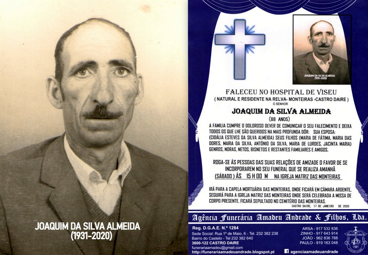 FOTO RIP  DE JOAQUIM DA SILVA ALMEIDA -88 ANOS (RE
