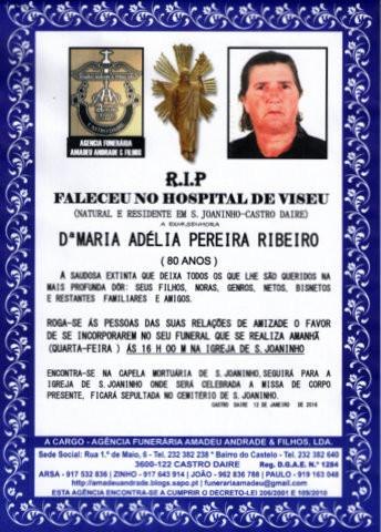 RIP- DE MARIA ADELIA PEREIRA RIBEIRO -80 ANOS (S.J