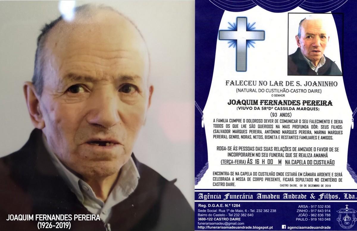 FOTO RIP  DE JOAQUIM FERNANDES PEREIRA-93 ANOS (CU