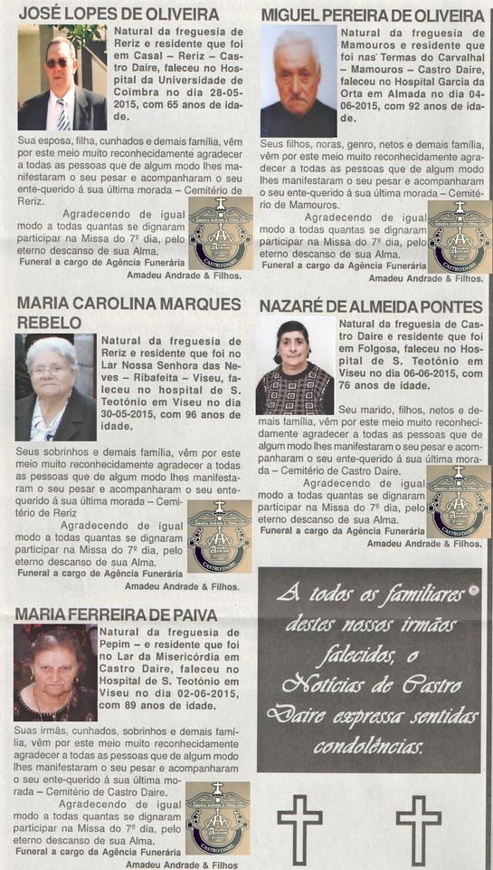 NECROLOGIA NOTICIAS DE CASTRO DAIRE 24 DE JUNHO DE