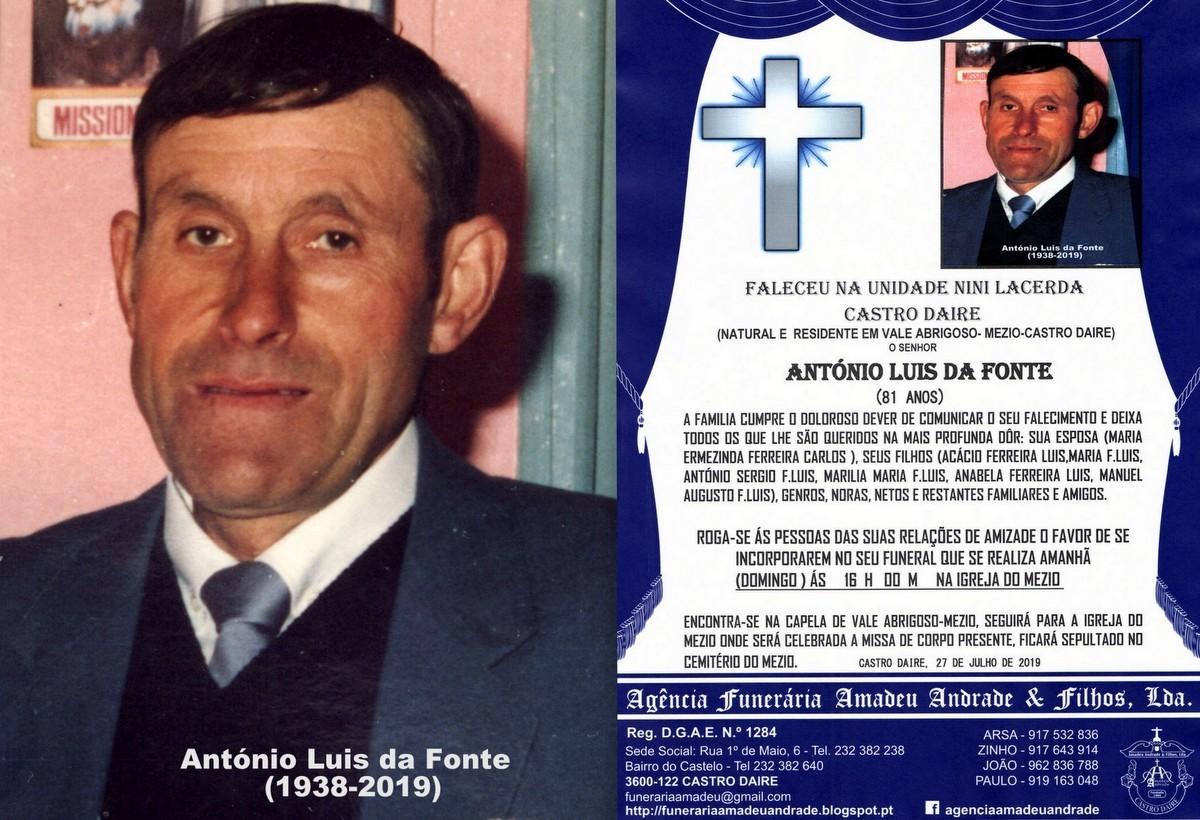 FOTO RIP  DE ANTÓNIO LUIS DA FONTE -81 ANOS( VALE