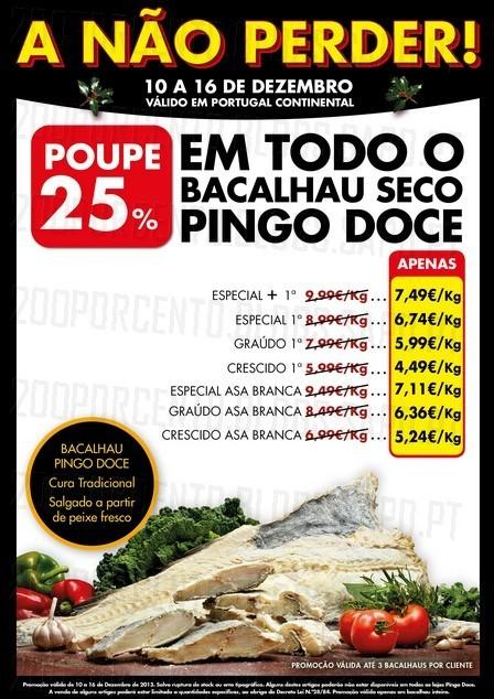 Extra 25% de desconto | PINGO DOCE | de 10 a 16 dezembro - Bacalhau