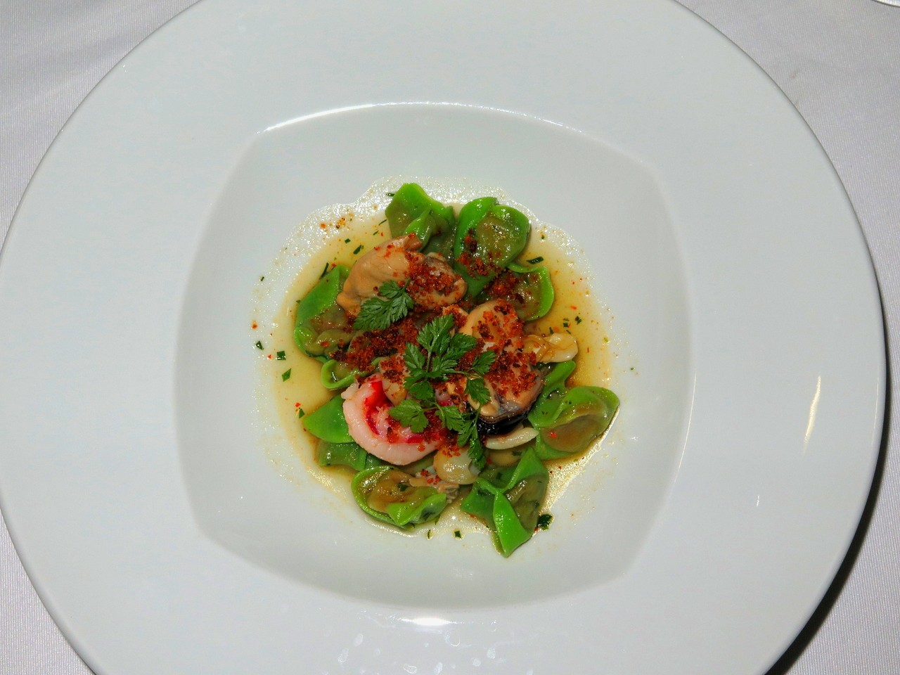 Green Tortellini with pappa al pomodoro and seafood