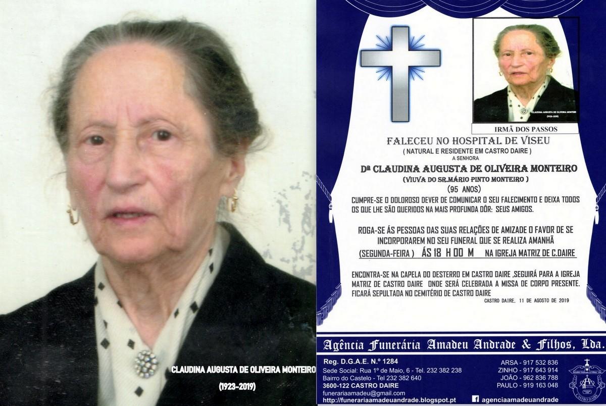 FOTO RIP DE CLAUDINA AUGUSTA DE OLIVEIRA MONTEIRO-