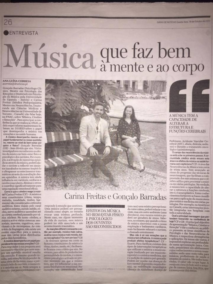 Diario de noticias- Carina Freitas e Gonçalo Barr