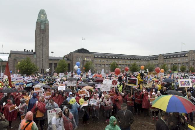 greve contra medidas de austeridade na Finlandia_1