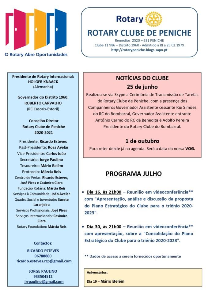 01 - Programa de julho do Rotary Clube de Peniche_