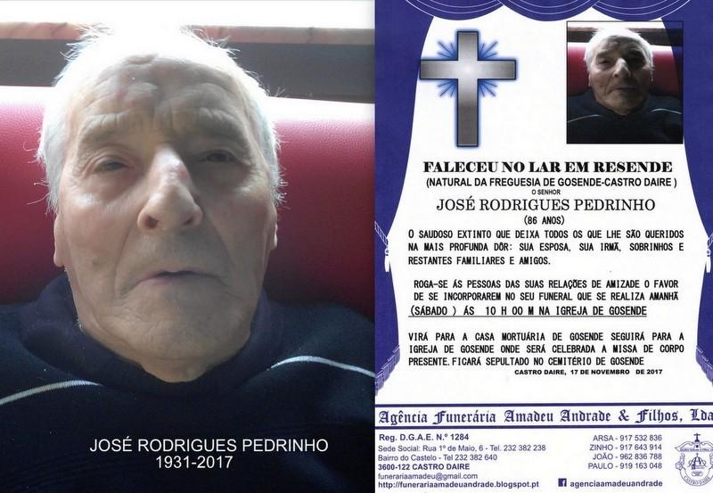 FOTO E RIP JOSÉ  RODRIGUES PEDRINHO -ANOS (GOSEND