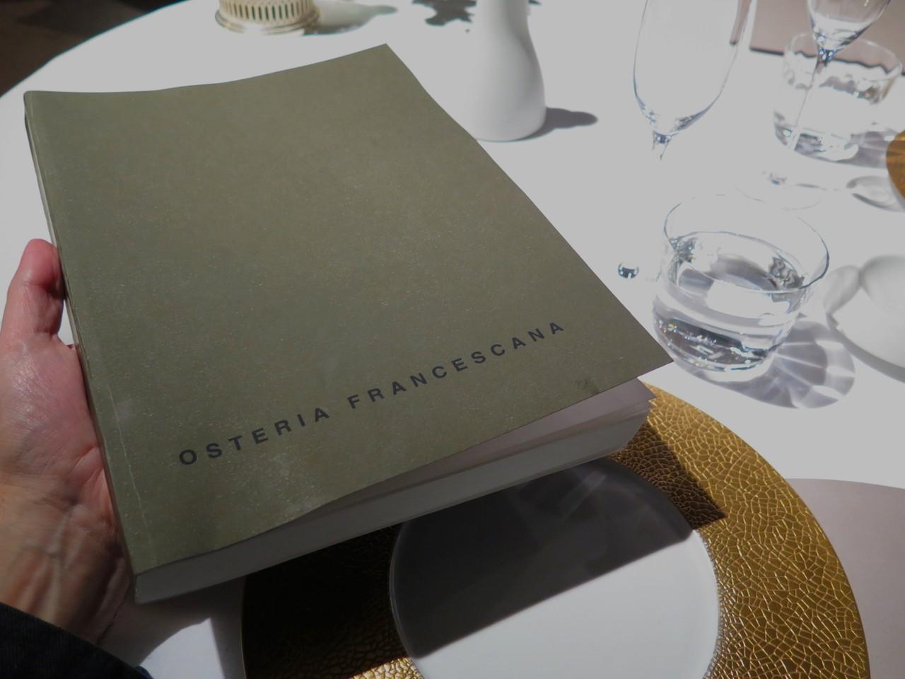 Carta de vinhos da OSTERIA FRANCESCANA