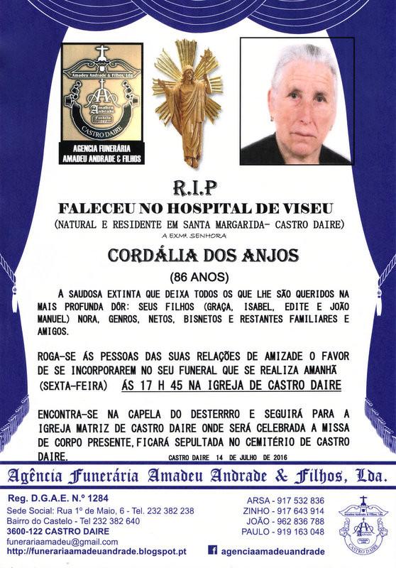RIP CORDÁLIA DOS ANJOS-86 ANOS- SANTA MARGARIDA.j