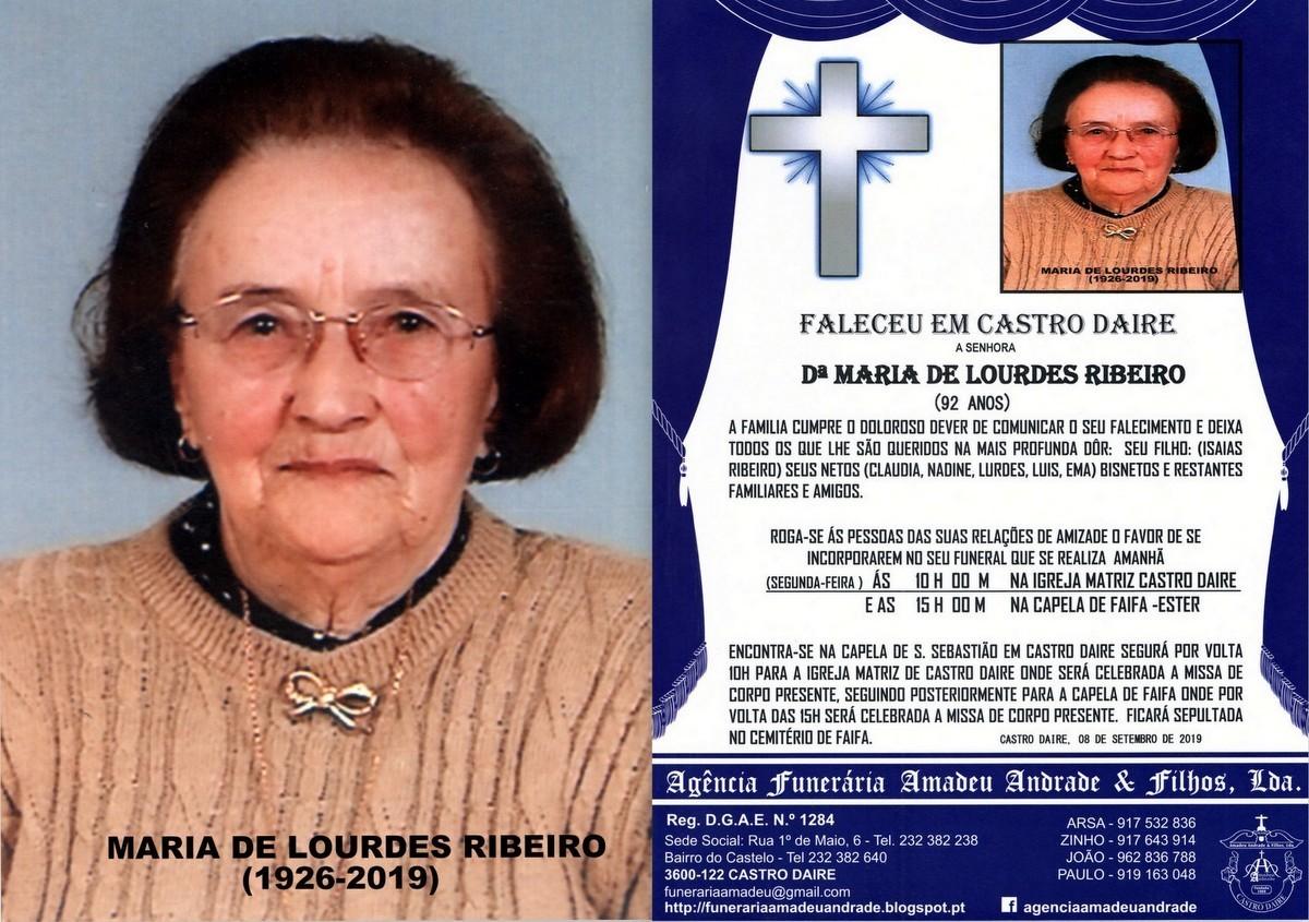 FOTO RIP DE MARIA DE LOURDES RIBEIRO-92 ANOS (CAST