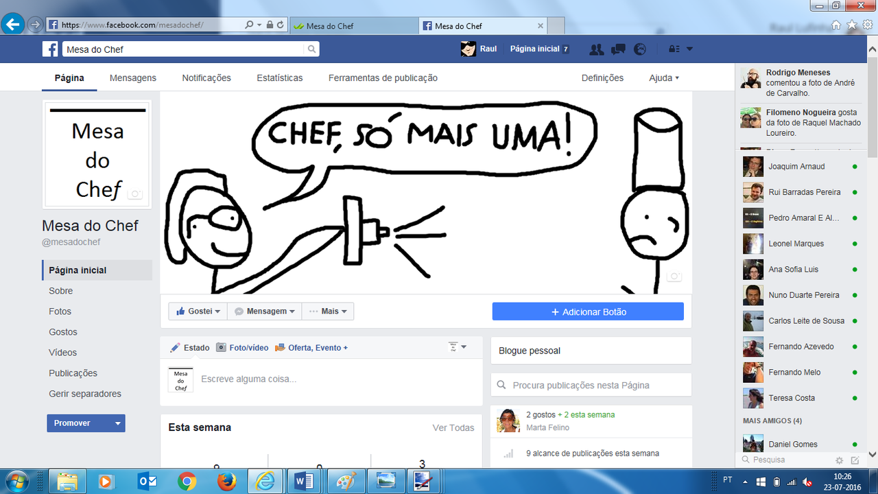 O blog Mesa do Chef agora também no Facebook