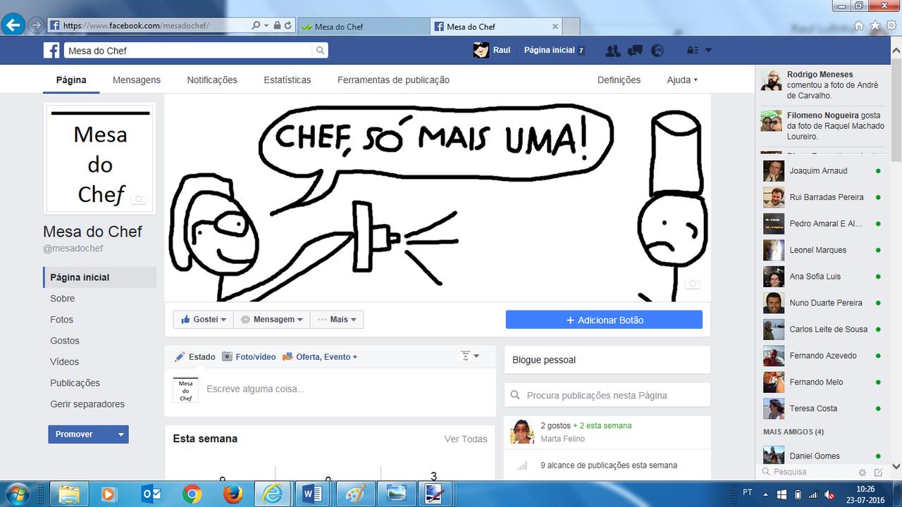 O blog Mesa do Chef agora também no Facebook