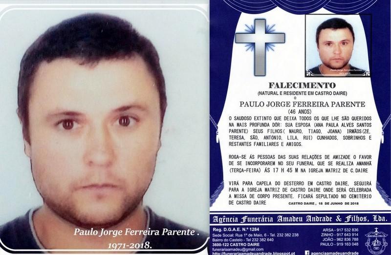 FOTO RIP- DE PAULO JORGE FERREIRA PARENTE -46 ANOS