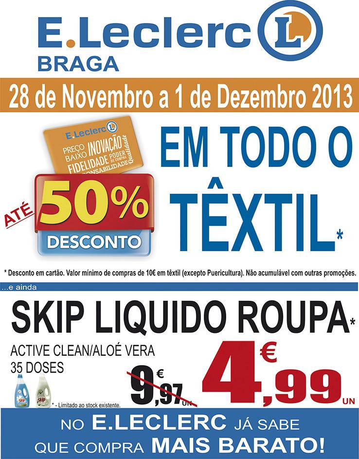 até 50% de desconto | E-LECLERC | Braga - Têxtil