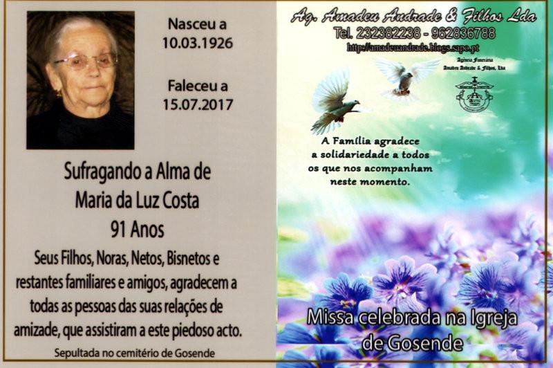 CARTÃO MARIA DA LUZ DA COSTA -91  ANOS (GOSENDE-C