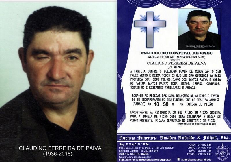 FOTO RIP-CLAUDINO FERREIRA DE PAIVA -82 ANOS (PIC
