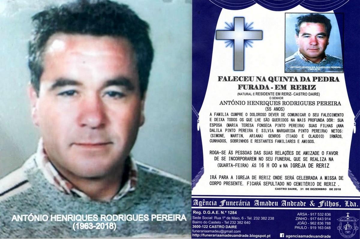 FOTO RIP DE ANTÓNIO HENRIQUES RODRIGUES PEREIRA -