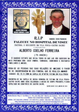 RIP- ALBERTO COELHO FERREIRA-75 ANOS (VILA POUCA).