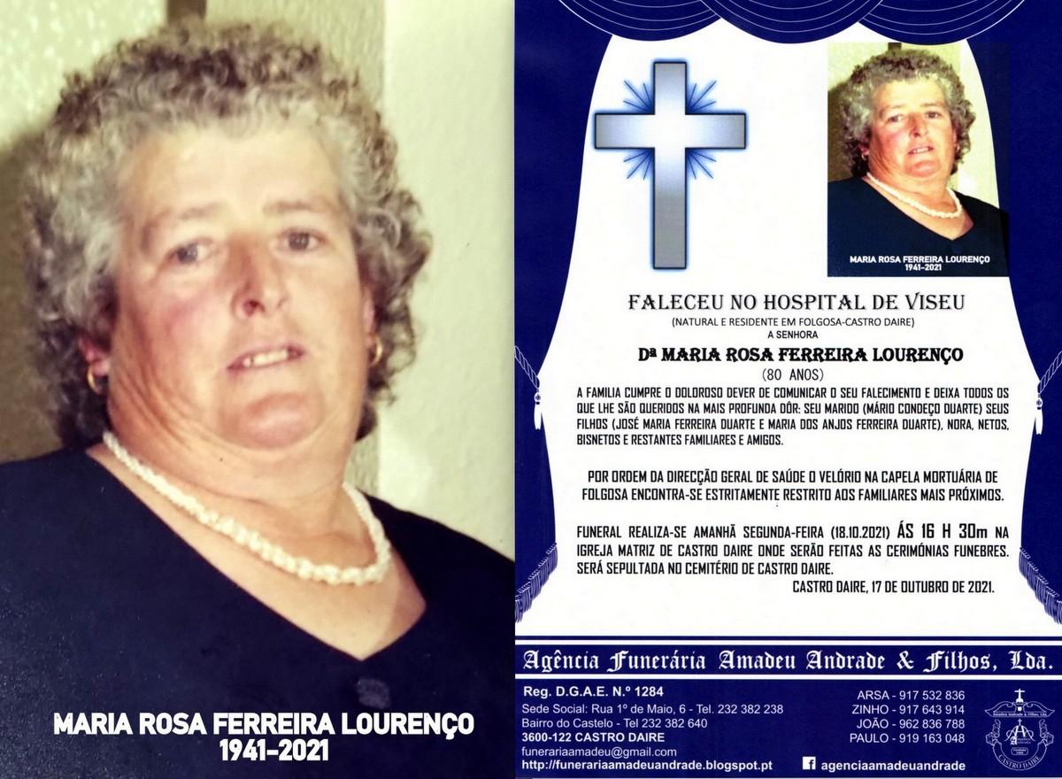 FOTO RIP DE MARIA ROSA FERREIRA LOURENÇO -80 ANOS