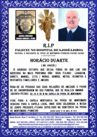 RIP- DE HORÁCIO DUARTE-86 ANOS (PÓVOA DE MONTEMU