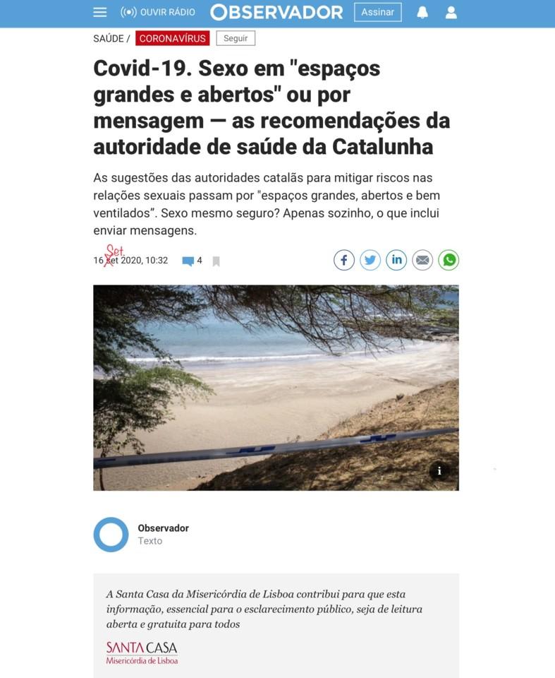 Sexo com o corno-vírus e contributo da Santa Casa, in Observador, 16/IX/20
